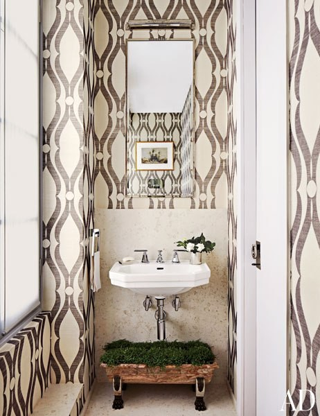 Phillip Jeffries wallpaper in Belle Epoque home; Marc Corbiau & Timothy Whealon