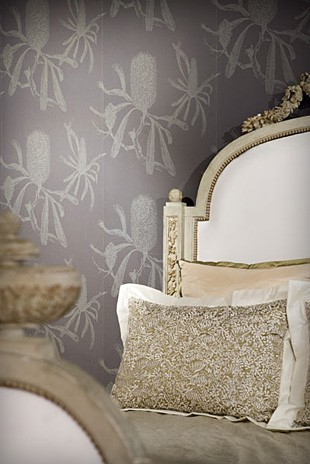 'Banksia' wall paper in charcoal