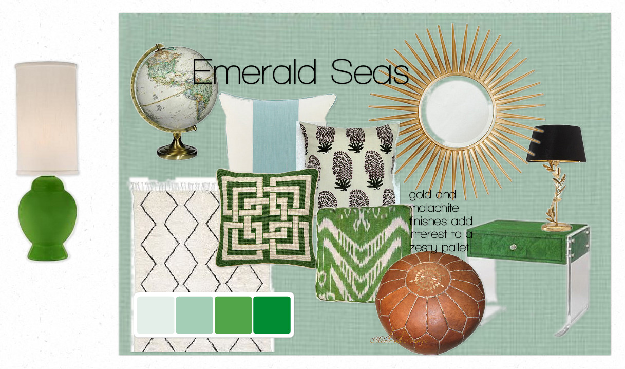 a few thoughts on combining emerald green and pale aqua.