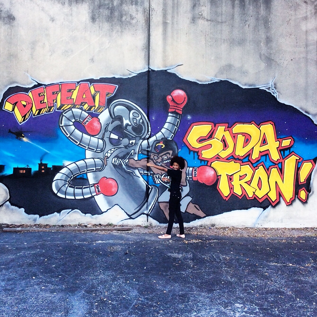 Operation: #DEFEATSODATRON in Miami at Solbox Fitness with street art mural by @MikeRichDesign @vyalone @Keo_xmen