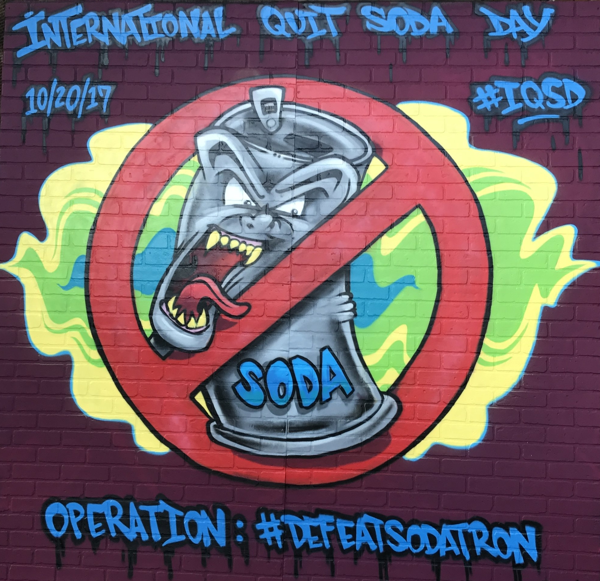 Inaugural International Quit Soda Day mural by Mike Rich of Portland, Maine, 2017