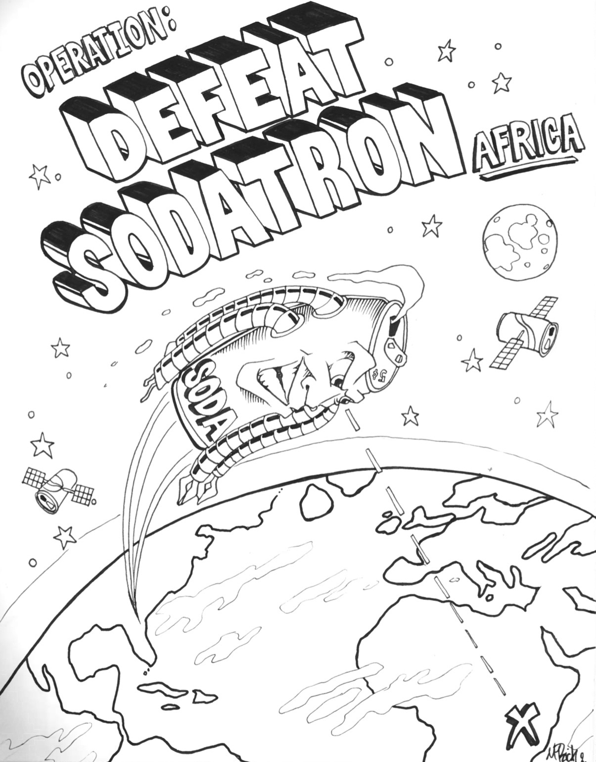 SODATRON sets his sights on Africa with his robotic tentacles of greed ready to pump kids full of sugary poison. Draft comic cover by Mike Rich Design.