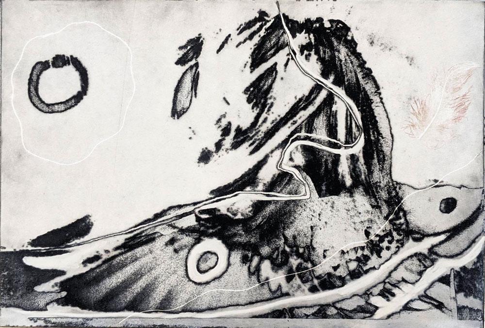 fugl-fisk-selvportrett-polymer-etsning-Anne-Britt-Kristiansen.jpg
