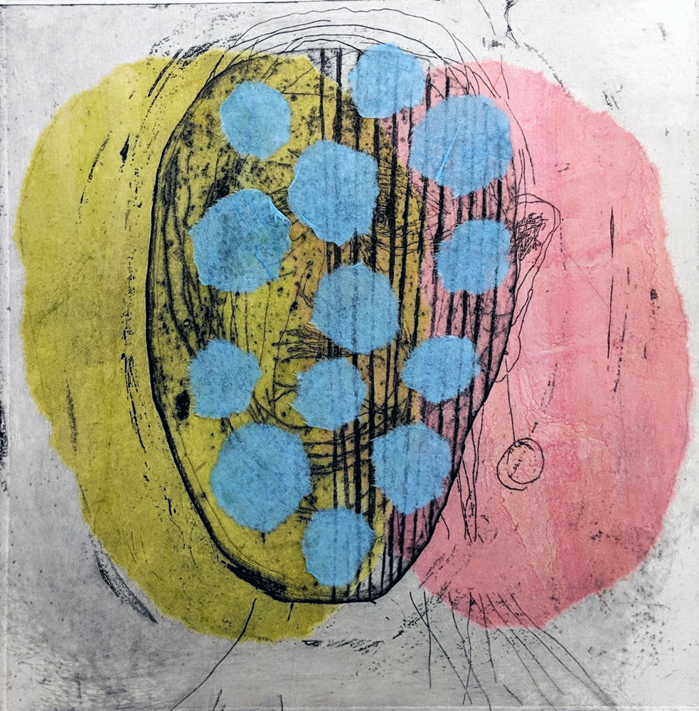 Hodeskalle-blå-prikker-grønt-rosa-etsning-chine-collé-Anne-Britt-Kristiansen.jpg