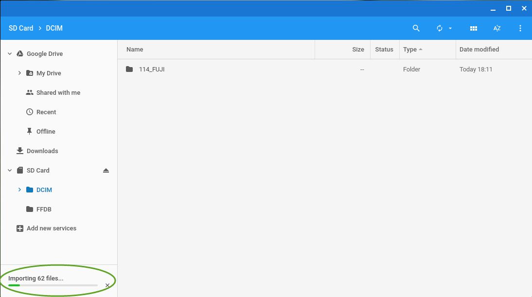 Billeder overføres til Google Drive. Afhængig af netforbindelse og filstørrelser kan dette godt tage sin tid!