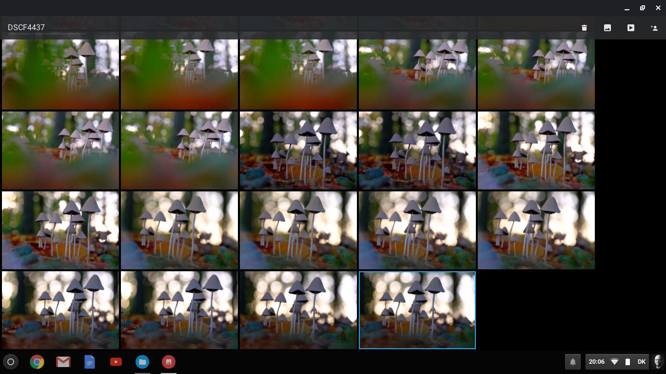 ChromeOS' fotoværktøj, der også kan lave lettere redigering af billederne. Den er god til at skabe sig et overblik.
