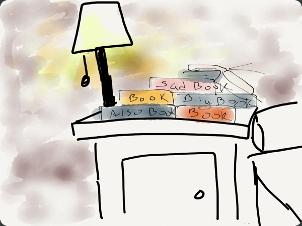 A graphic representation of the book graveyard that is my nightstand