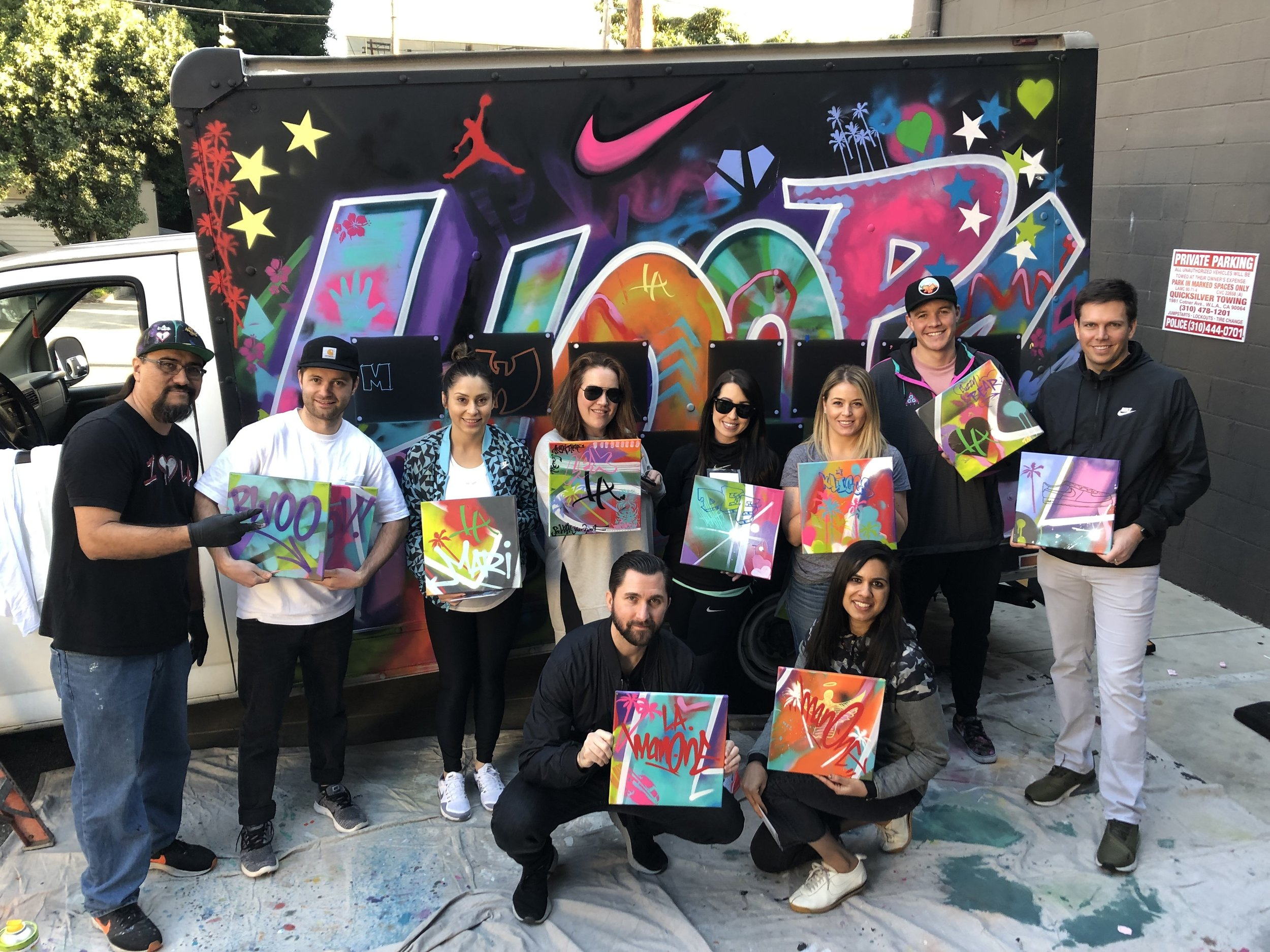 """NIKE - """"HOOPS""""MOBILE TRUCK GRAFFITI PAINTING X INDIVIDUAL CANVASES"""