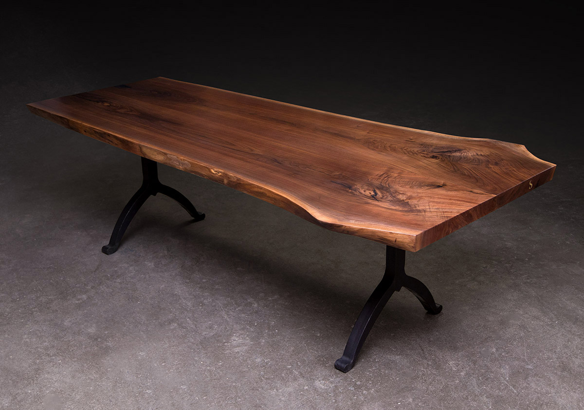 Signature Live Edge Table Walnut Hardwood With Blackened Steel Wishbone Legs Sentient