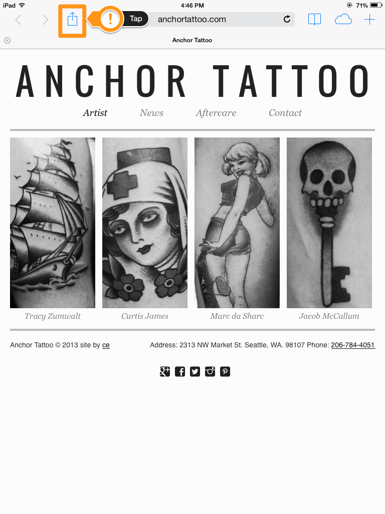 1. While on your favorite page on  Anchor Tattoo tap this icon.