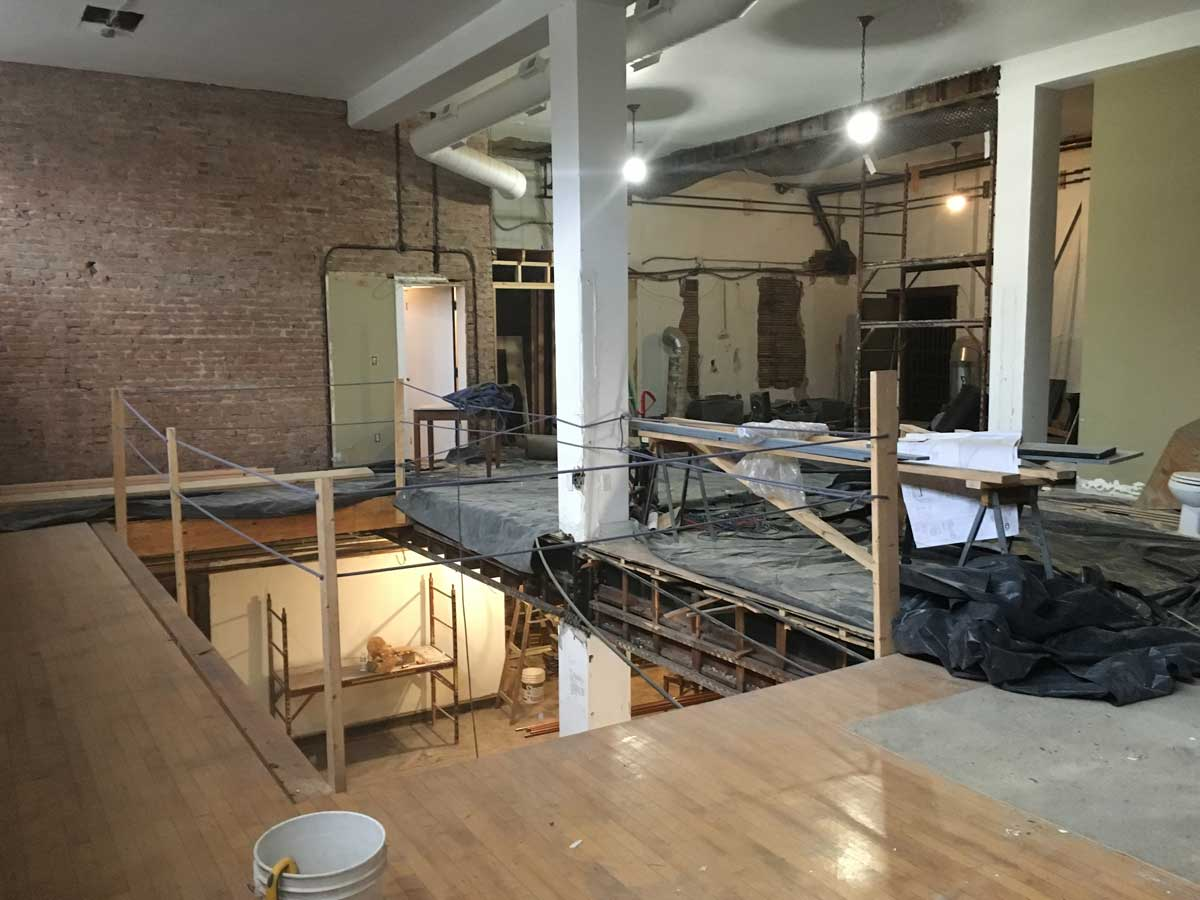 First floor, looking into the new opening.