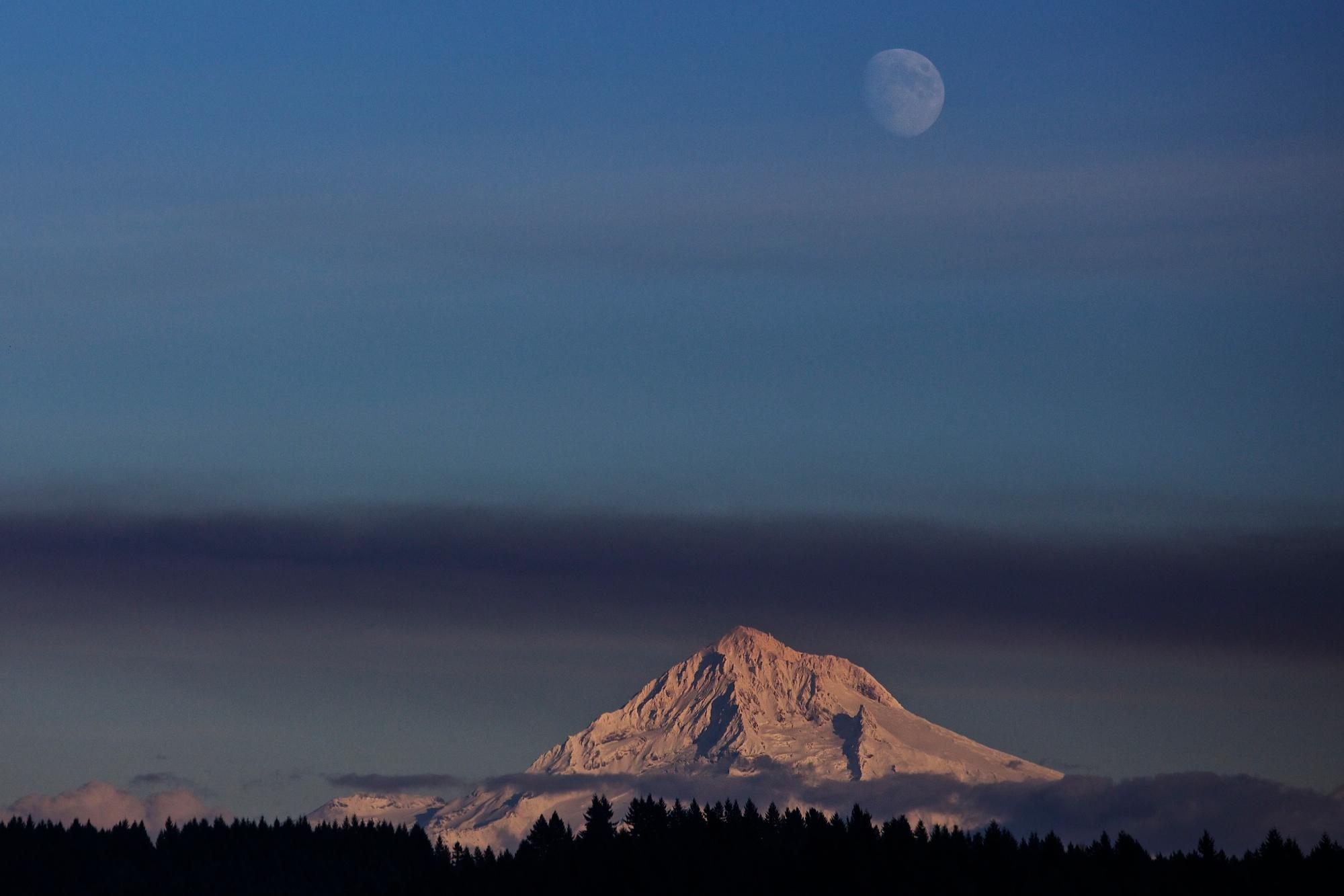 Mt. Hood, smoke, moon onThu., Oct. 25, 2012.