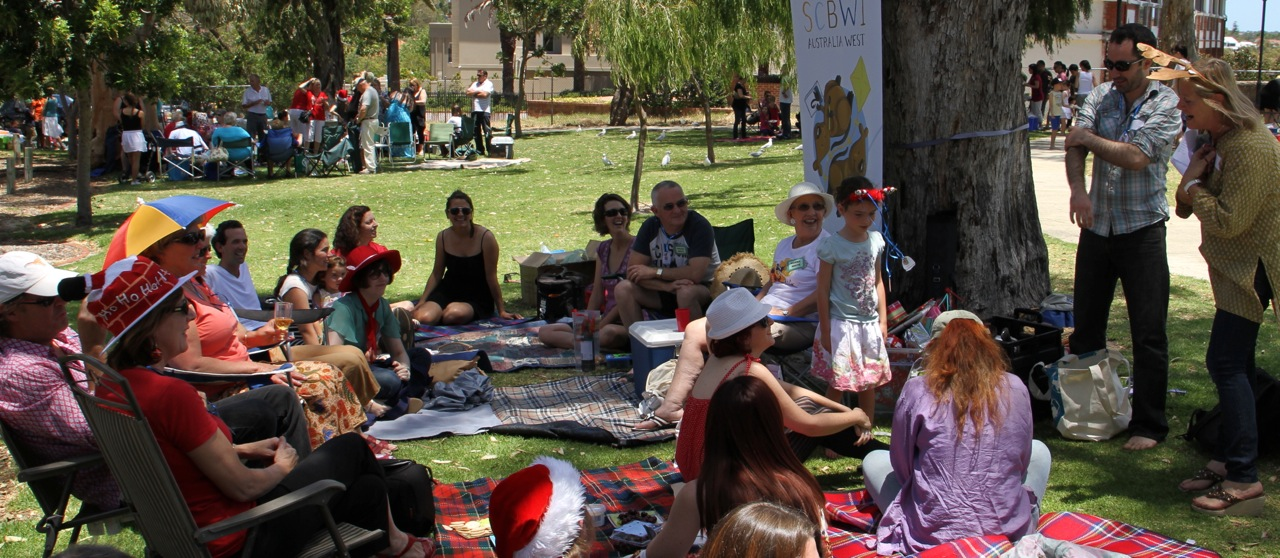 Relaxing at the SCBWI Australia West Christmas BBQ