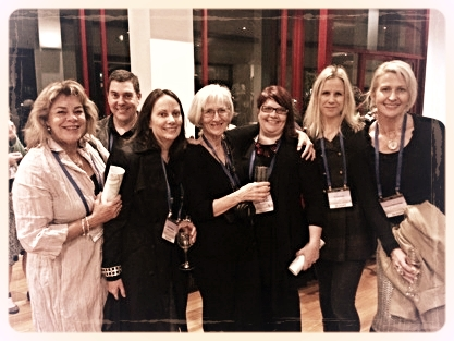 Tracey Hawkins, Dave Murphy, Sue Whiting, Sheryl Gwyther, Christina Booth, Irma Gold, & Tania McCartney at the Bob Graham Exhibition, Canberra Museum and gallery (CMAG).