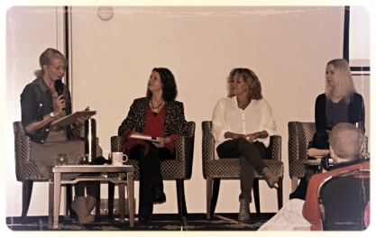 'National Treasures –Motherhood and Mayhem' panel session- (ACT SCBWI gals) Tania McCartney, Stephanie Owen Reeder, Tracey Hawkins, & Irma Gold at the Conference.