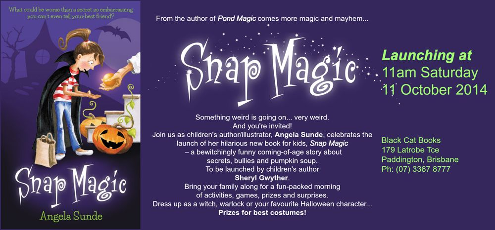 You're invited to a fabulous, magical launch of SCBWI Queensland's support team member,  ANGELA SUNDE,  at Black Cat Books, Paddington, Brisbane, this Saturday October 11, 2014. 11am.