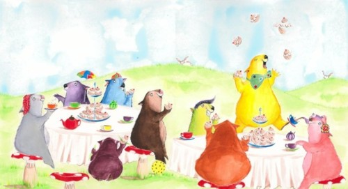 Nine silly wombats having tea and buns.jpg