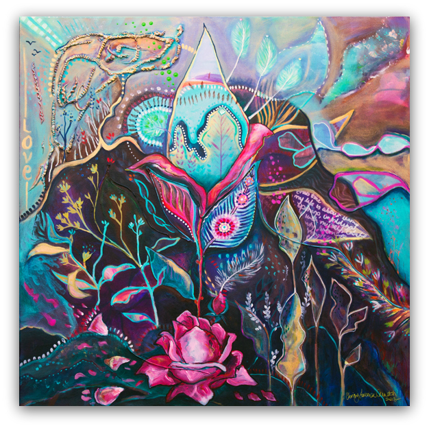 """'She Buds, She Blooms'  30"""" X 30"""" on canvas. Available  here"""