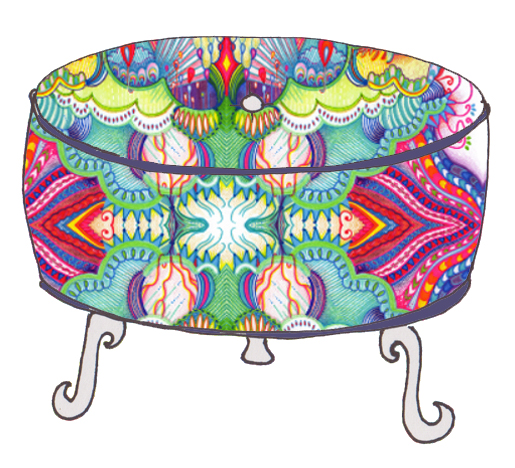 Fabric pouf, using Storms Bring Rainbows  fabric .