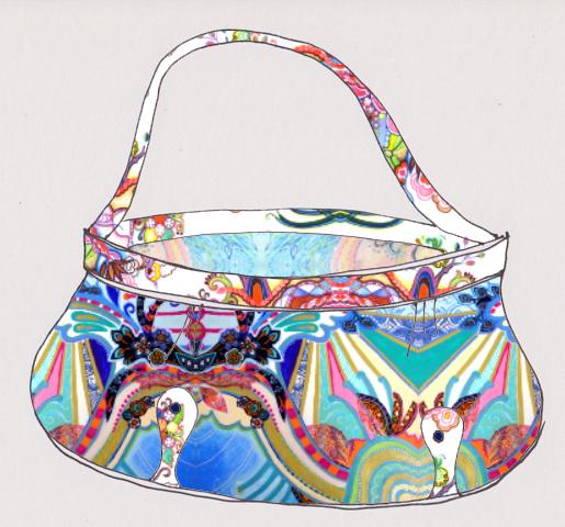Boho handbag, using 'Undulating Flourishside' fabric + 'You Make Me Happy' fabric trim + 'Motherhood'  fabric  inner