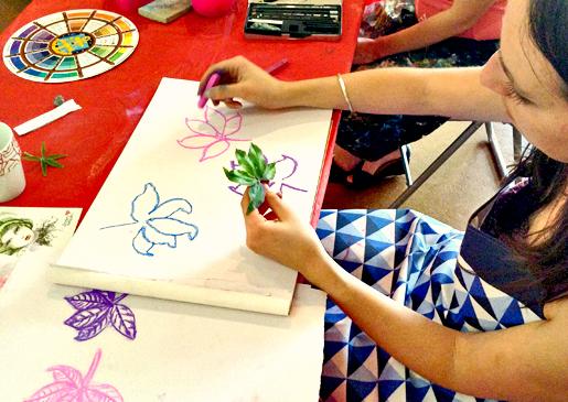Pippa drawing her garden treasures