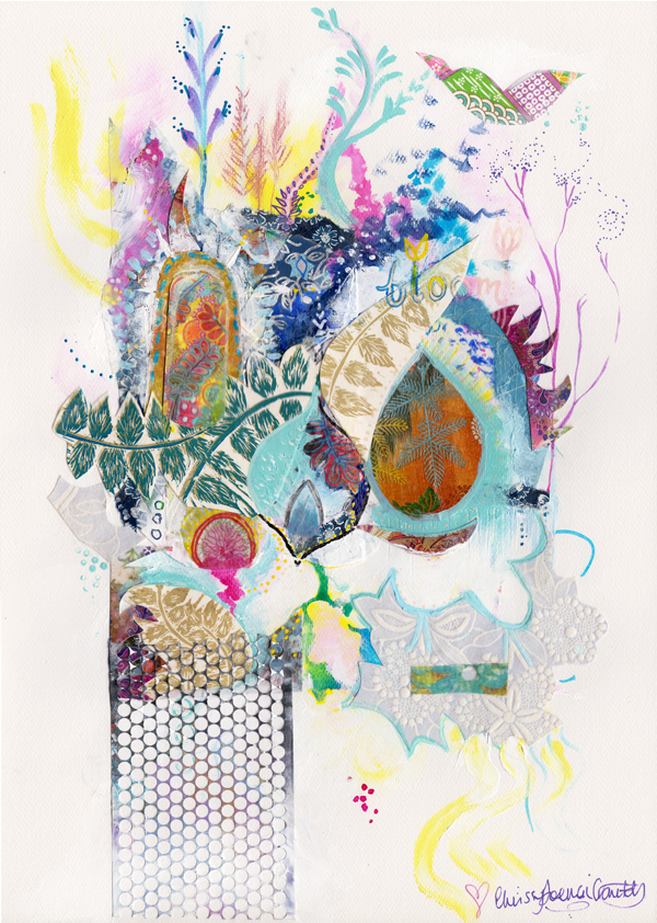 Bloom. Mixed media collage. $150 until 23rd Jan 2014. Enjoy her   HERE