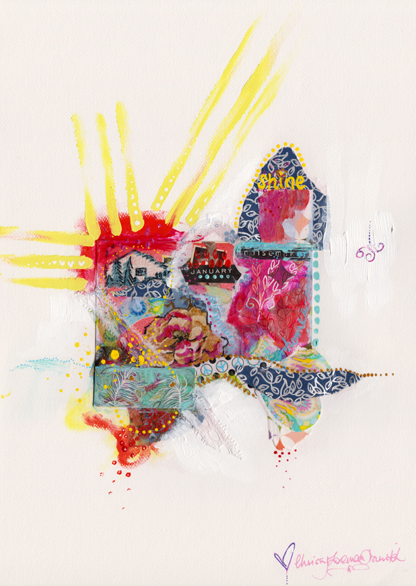Shine. Mixed media collage. $150 until 23rd Jan 2014. Enjoy her   HERE