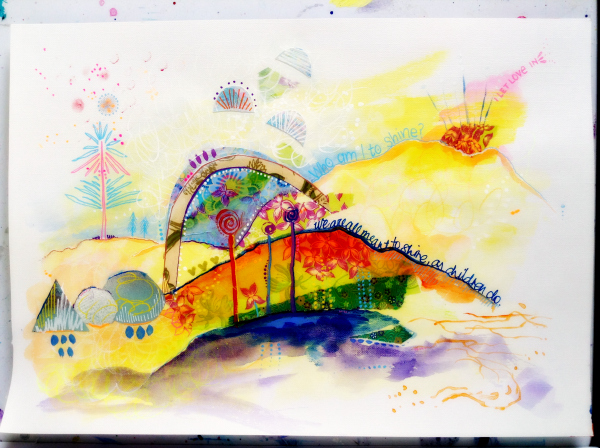 'Born to Shine'. Mixed media on paper. 29 x 42 cms. Chrissy Foreman Cranitch, 2014