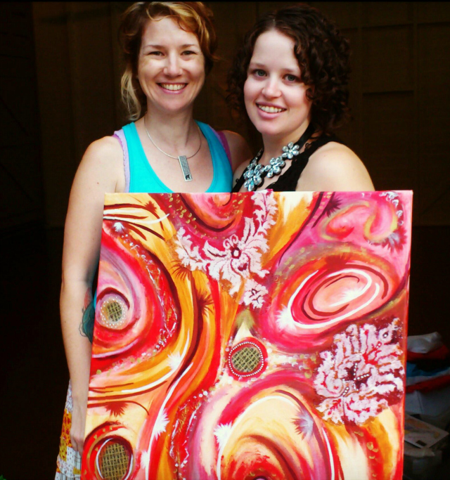 Sambo and I with her gorgeous painting at my workshop last year.