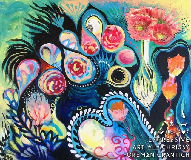 "'Beautiful Sorrow'. 20"" X 24"" mixed media on canvas.     (c) Chrissy Foreman Cranitch, 2014."