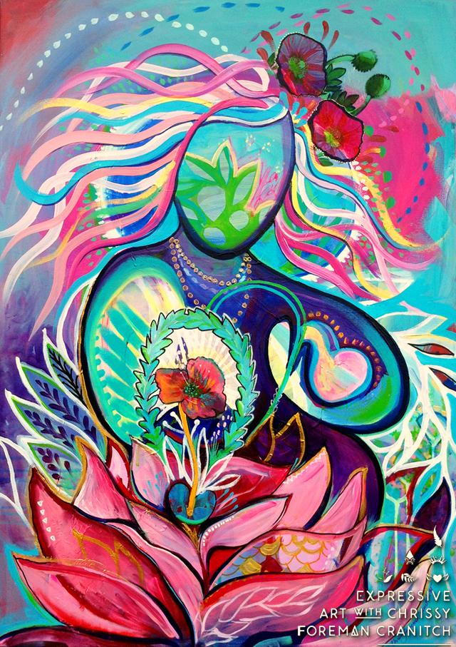 'Heart Medicine'. Mixed media on canvas. (c) Chrissy Foreman Cranitch, 2014.