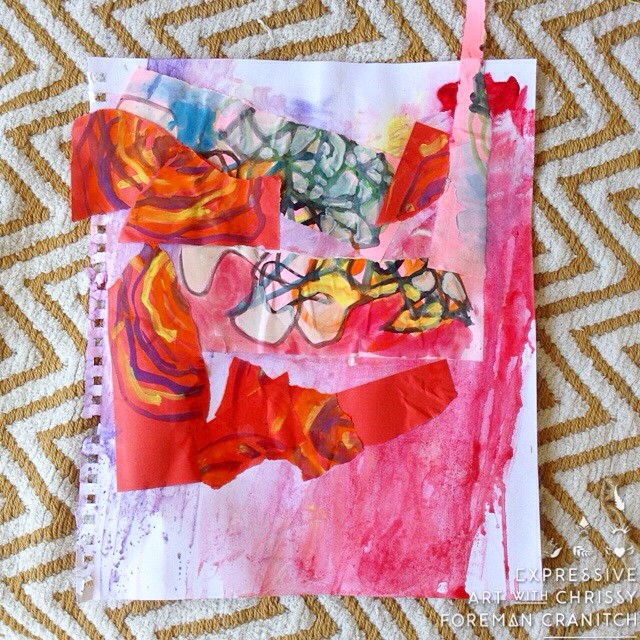 Making some delicious mixed media collages with my 3 year old son.