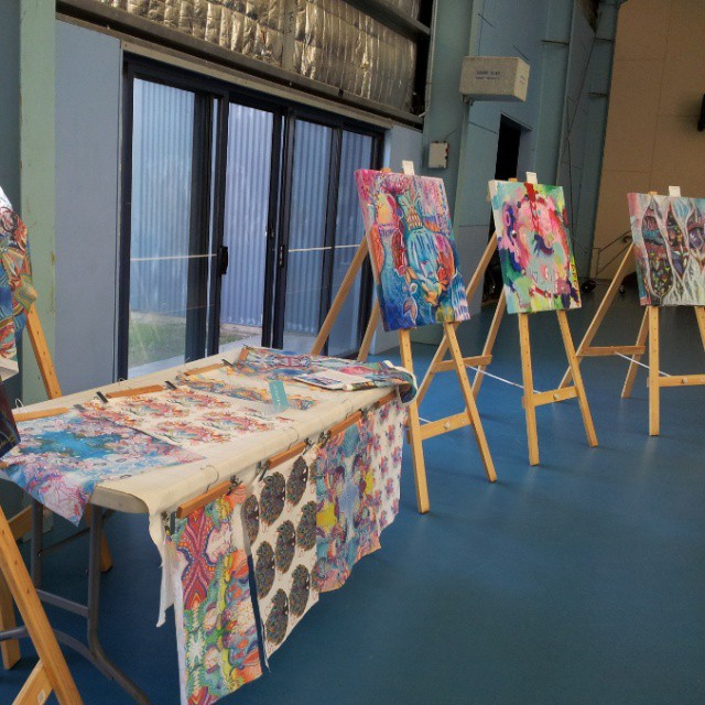 One from the cutting room floor   of my Art at Bracken Ridge High, when I donated a display of my works for the night of their wearable art awards night.