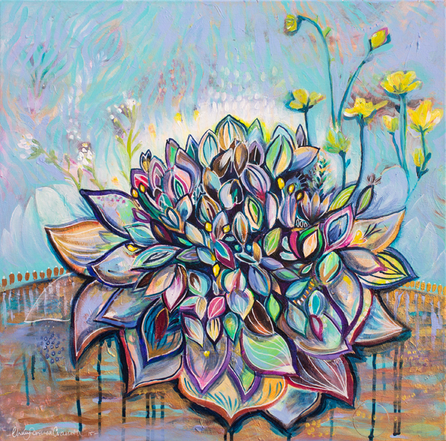 "Bouquet Spirit. 24"" X 24"" acrylic on canvas. 2015"