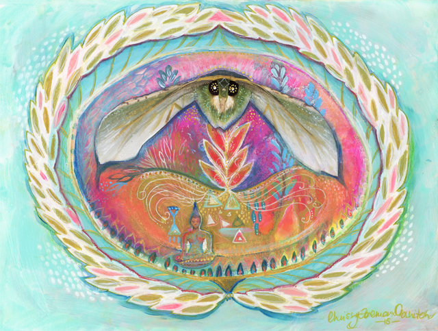 "'Womb Keeper'. 9"" x 12"" on Mixed-media Fine Art paper. Chrissy Foreman Cranitch, 2015."