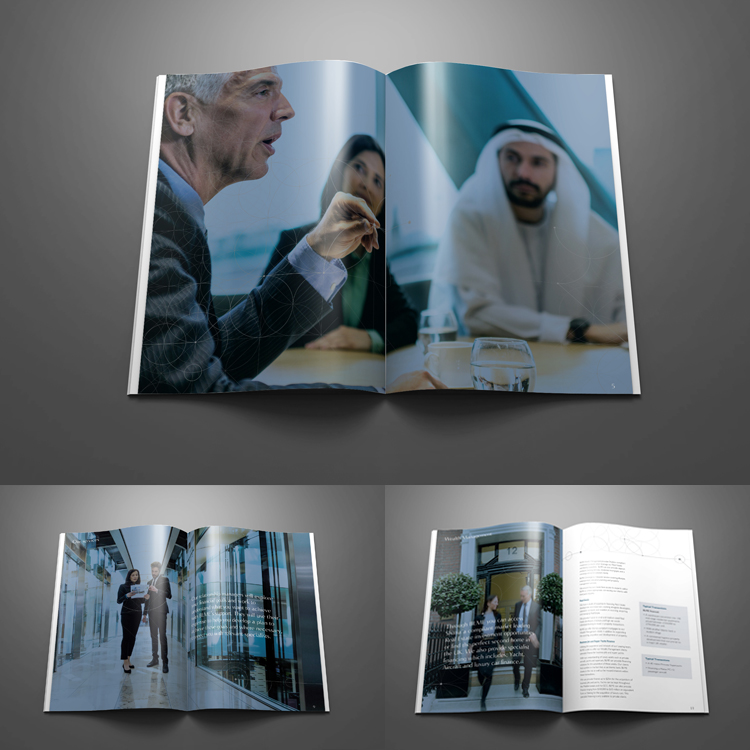 A selection of spreads and images from the printed corporate brochure.