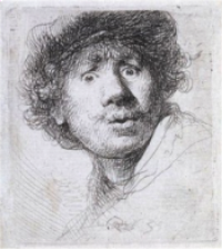 Rembrandt van Rijn (1606-1669) Self-portrait - Engraving
