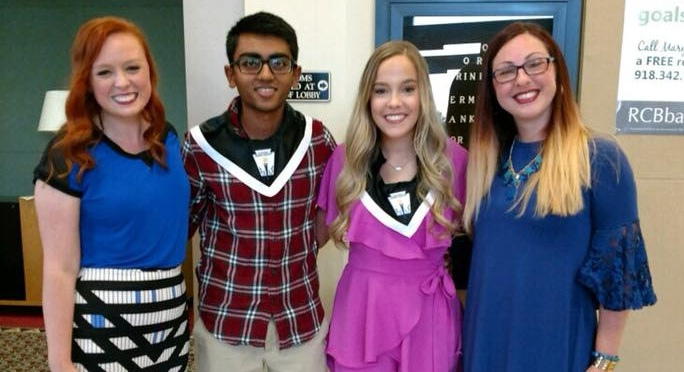 Junior Ocieleta members Katy Gray and Sonia Eckert pictured with two of this years scholarship recipients, Avi Patel and Julia Teter! Congrats Avi & Julia.... we look forward to seeing all the amazing things you accomplish in the years to come!