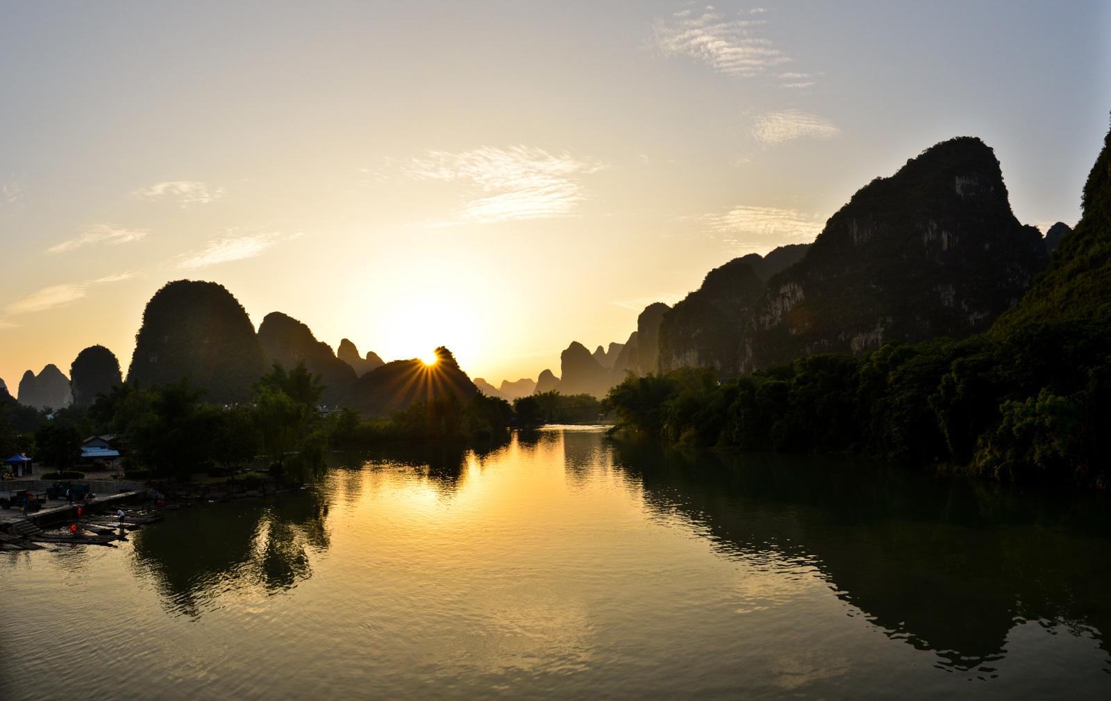 Crépuscule à Yangshuo