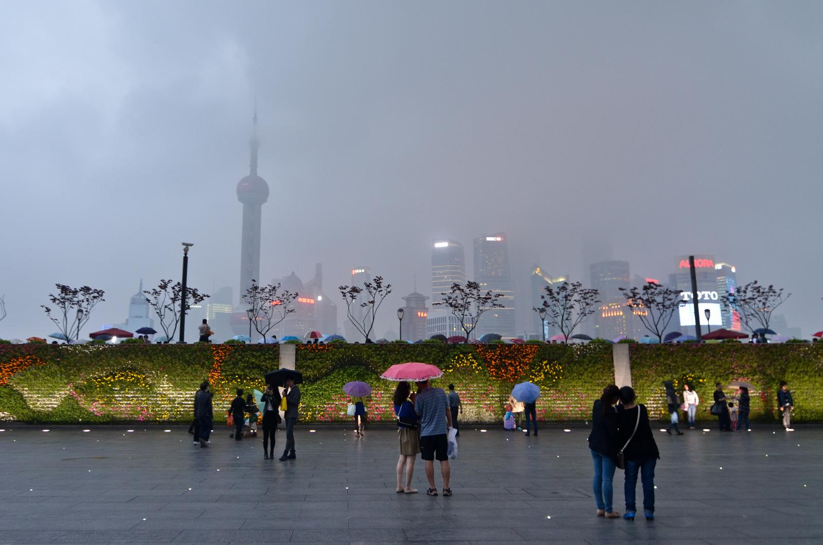 Pudong sous la pluie, Shanghaï