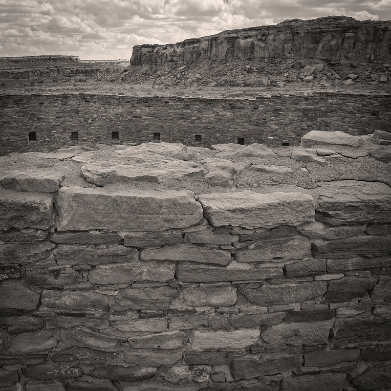Casa Rinconada, Chaco Cultural National Historical Park, New Mexico . This great kiva was constructed in the mid-11th Century and used through the early 12th Century by the Chacoan people for ceremonial and political purposes. I was struck by the way the structure blended almost seamlessly into the surrounding landscape.