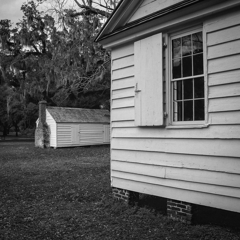 Kitchen (foreground) and dairy (background) at McLeod Plantation, James Island, Charleston, SC .  Photo ©2016 Lee Anne White