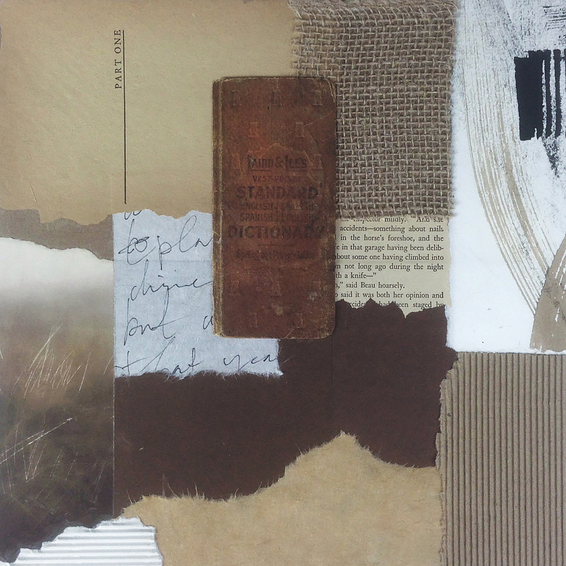 """Translation . 12""""x12"""" mixed-media collage. I find that working in collage or bookmaking is very calming and expressive. This is a piece I created last week."""
