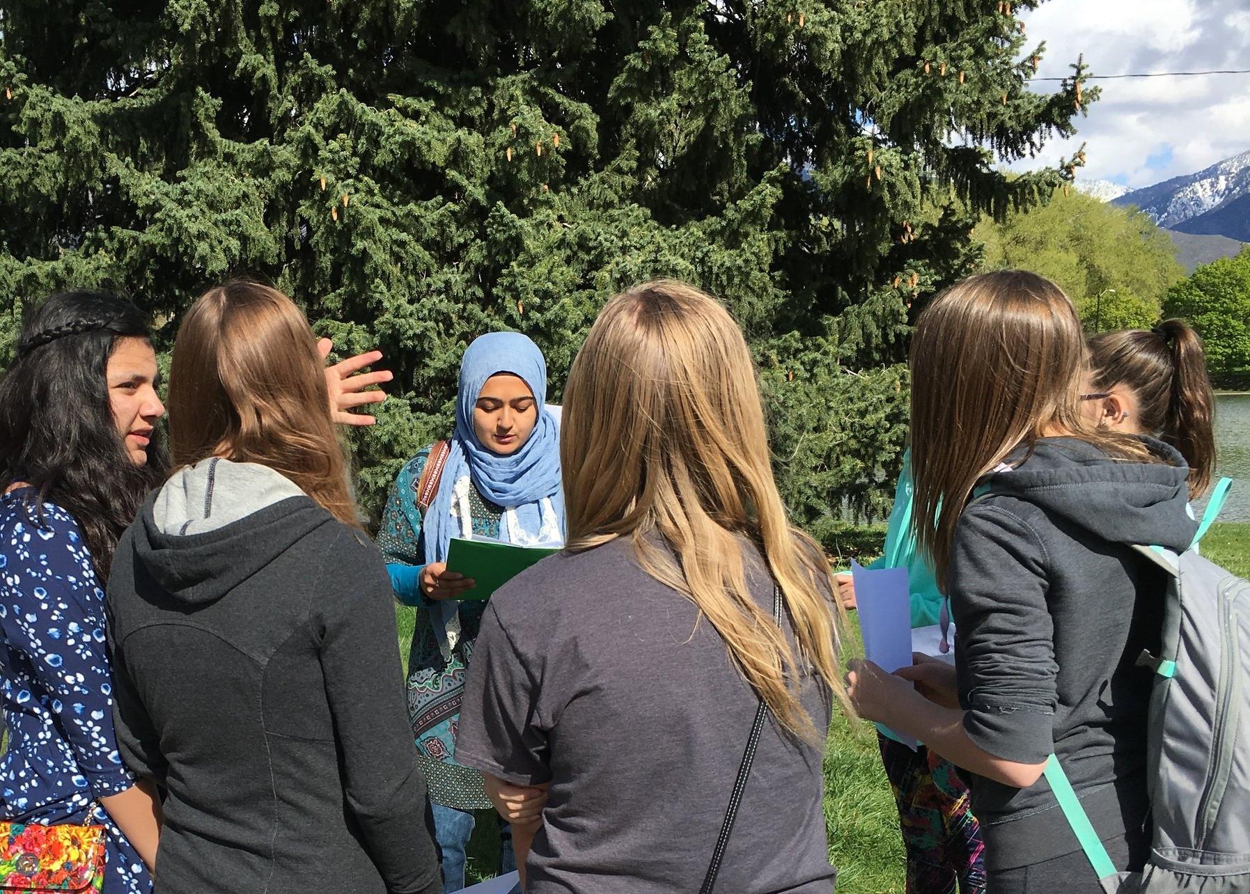 Girl Scouts of Utah troop #496 lead a group of girls on a Jane Jacobs Walk. Spring 2016 Salt Lake City, UT.