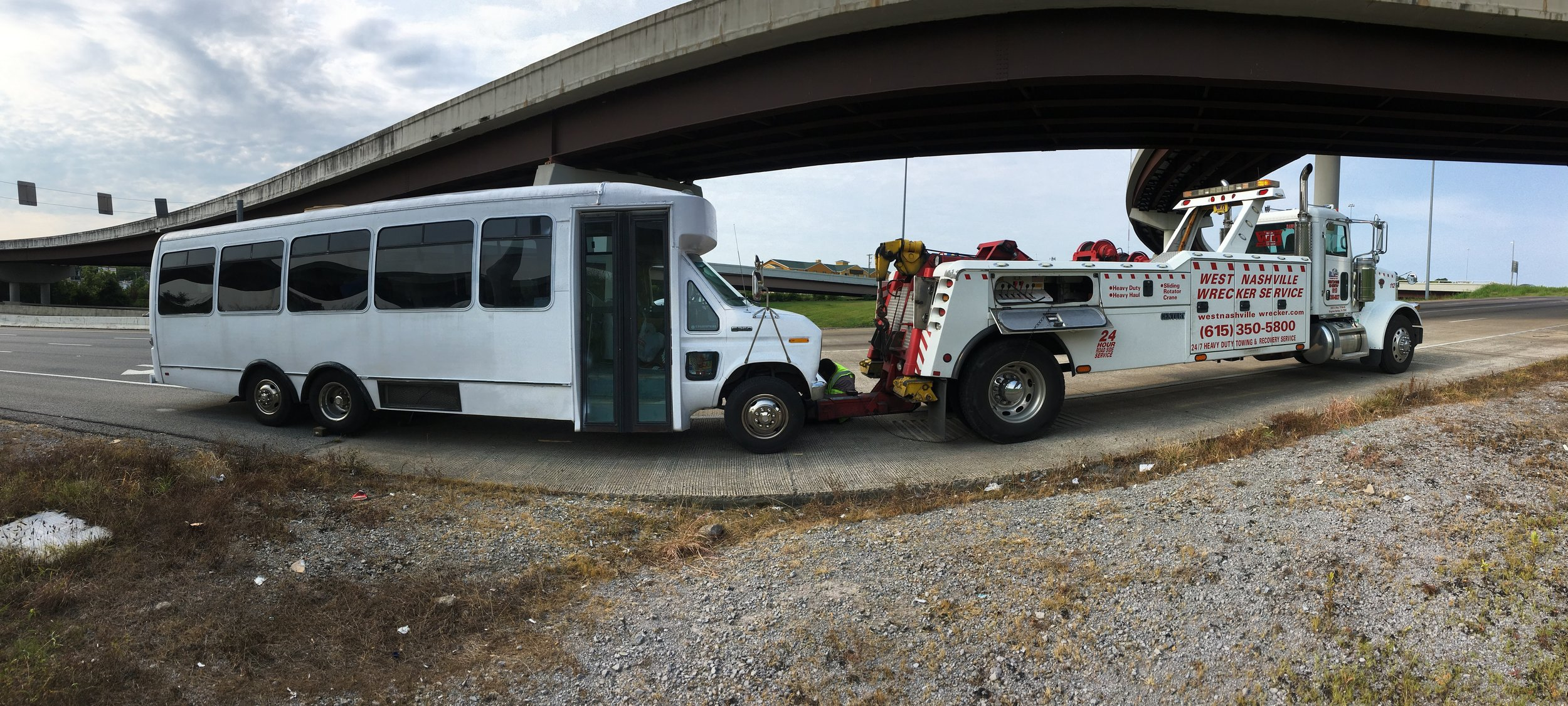 That time when the drive shaft on our old bus busted in Nashville.