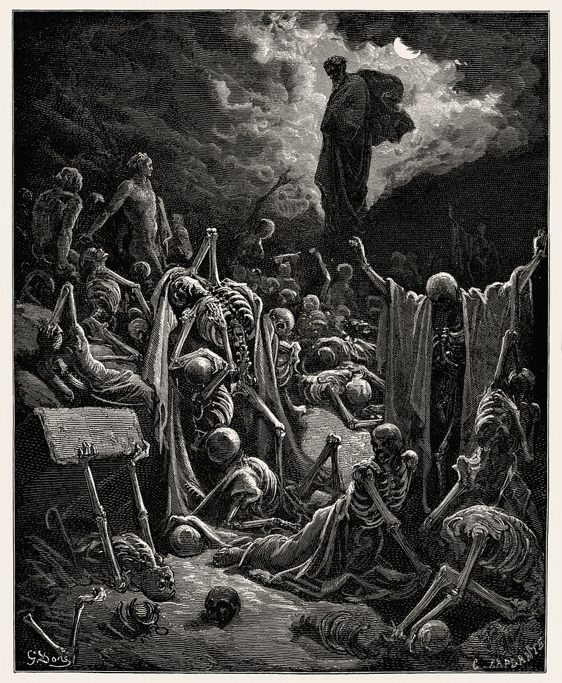 """Gustave Doré engraving """"The Vision of The Valley of The Dry Bones"""" - 1866"""