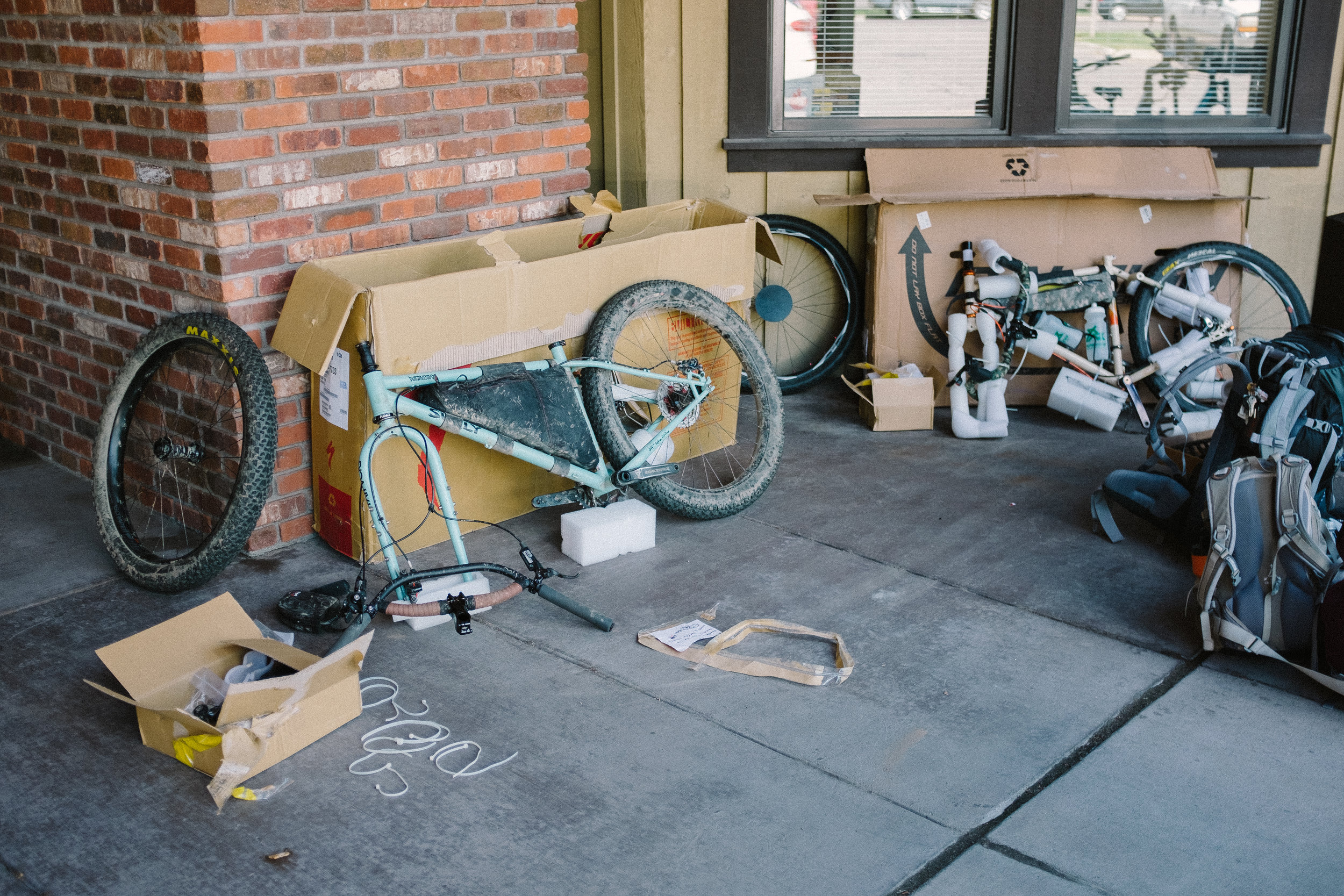 We shipped our bikes to a shop in Jackson Hole and built them in the parking lot. We were certainly a spectacle.