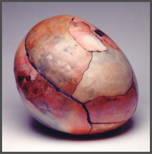 a Cracked Earth.a Saggar fired. Assembled stoneware.