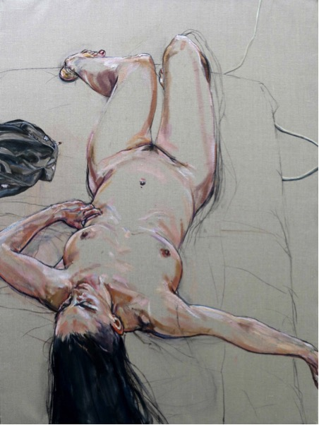 Large Nude 2013 . oil and charcoal on Italian linen. 122x92 cm