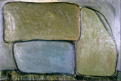 """""""boulders,"""" 4' x 6'6"""", oil on canvas, ©10.1981"""